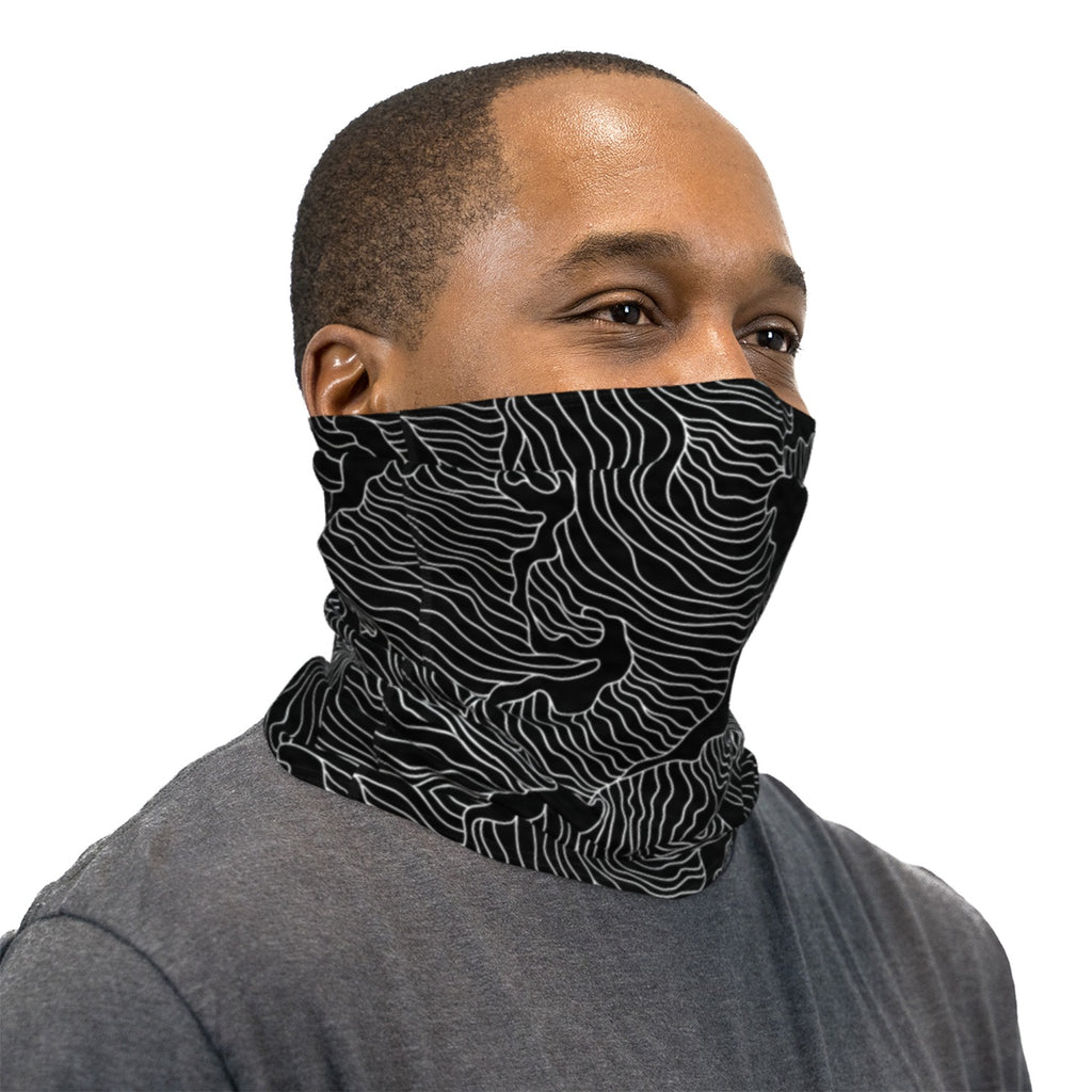 Black Topographical Wave Neck Gaiter Face Mask