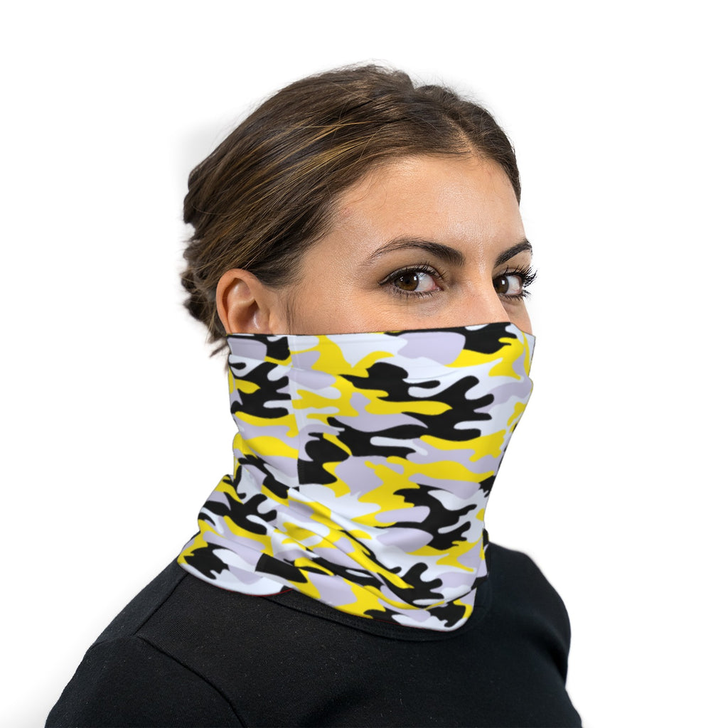 Black and Yellow Camouflage Neck Gaiter Face Mask