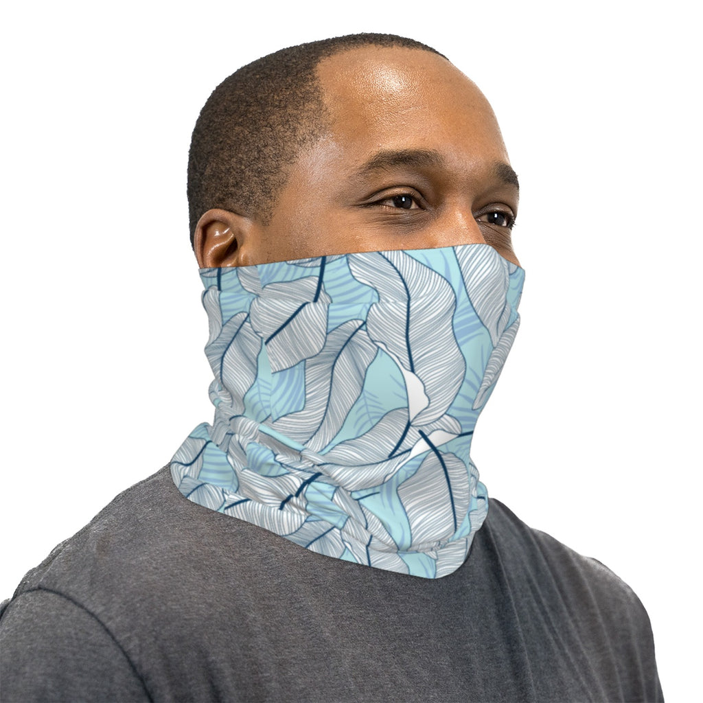 Light Blue Tropical Flowers Neck Gaiter Face Mask