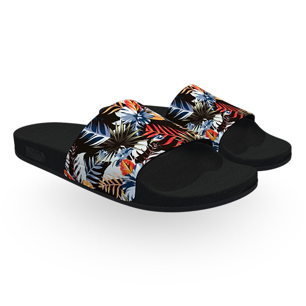 Black Blue and Orange Hawaiian Slide Sandals