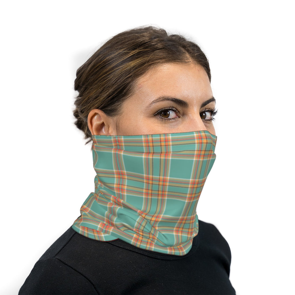 Turquoise Plaid Neck Gaiter Face Mask