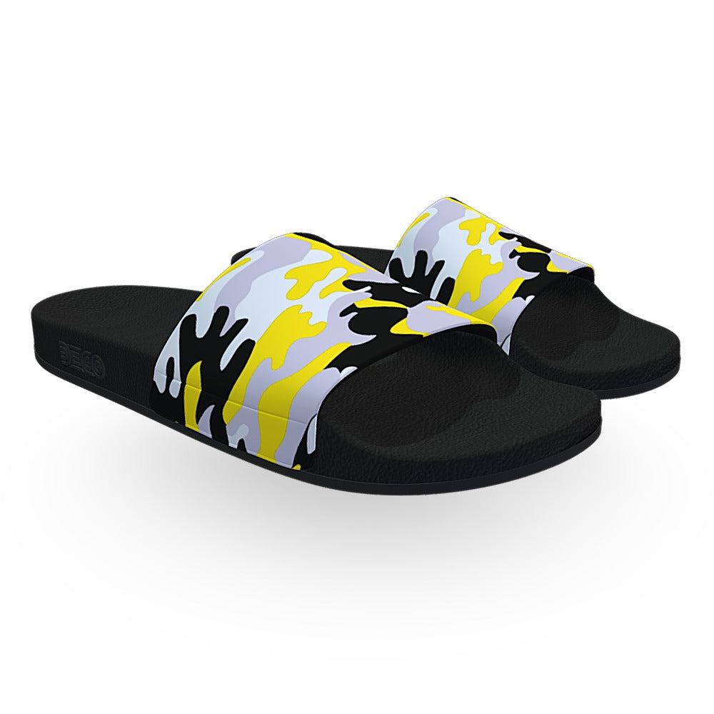 Yellow Woodland Camouflage Slide Sandals