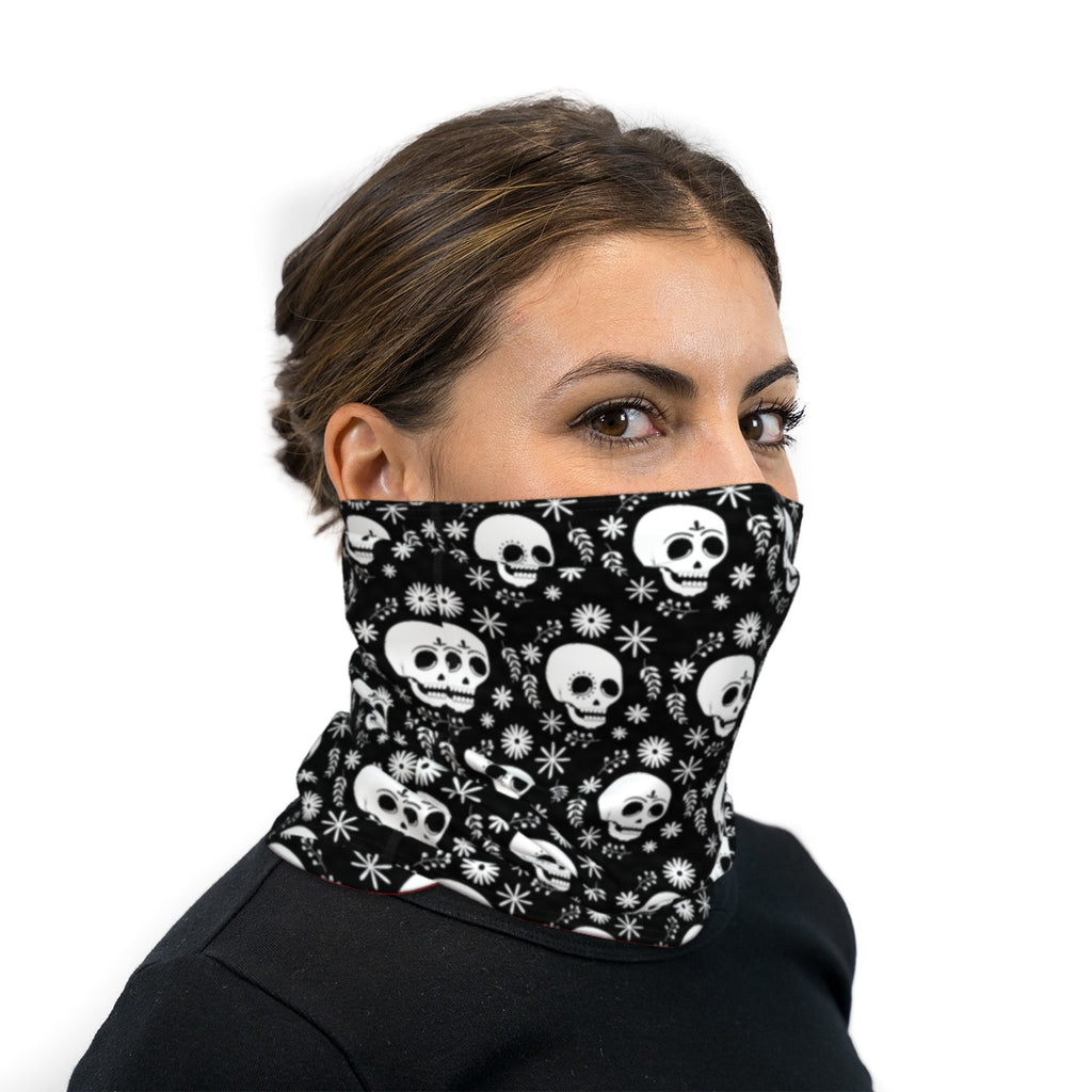 Black And White Dia De Los Muertos Neck Gaiter Face Mask