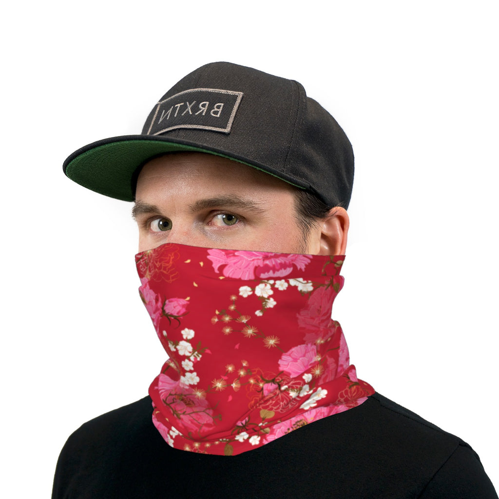 Red And Pink Japanese Flowers Neck Gaiter Face Mask