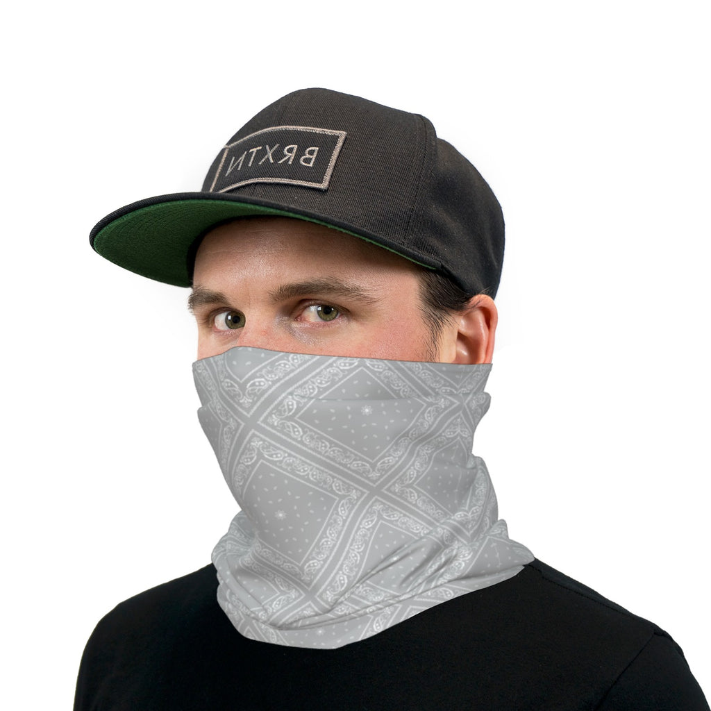 Light Gray Bandana Paisley Neck Gaiter Face Mask