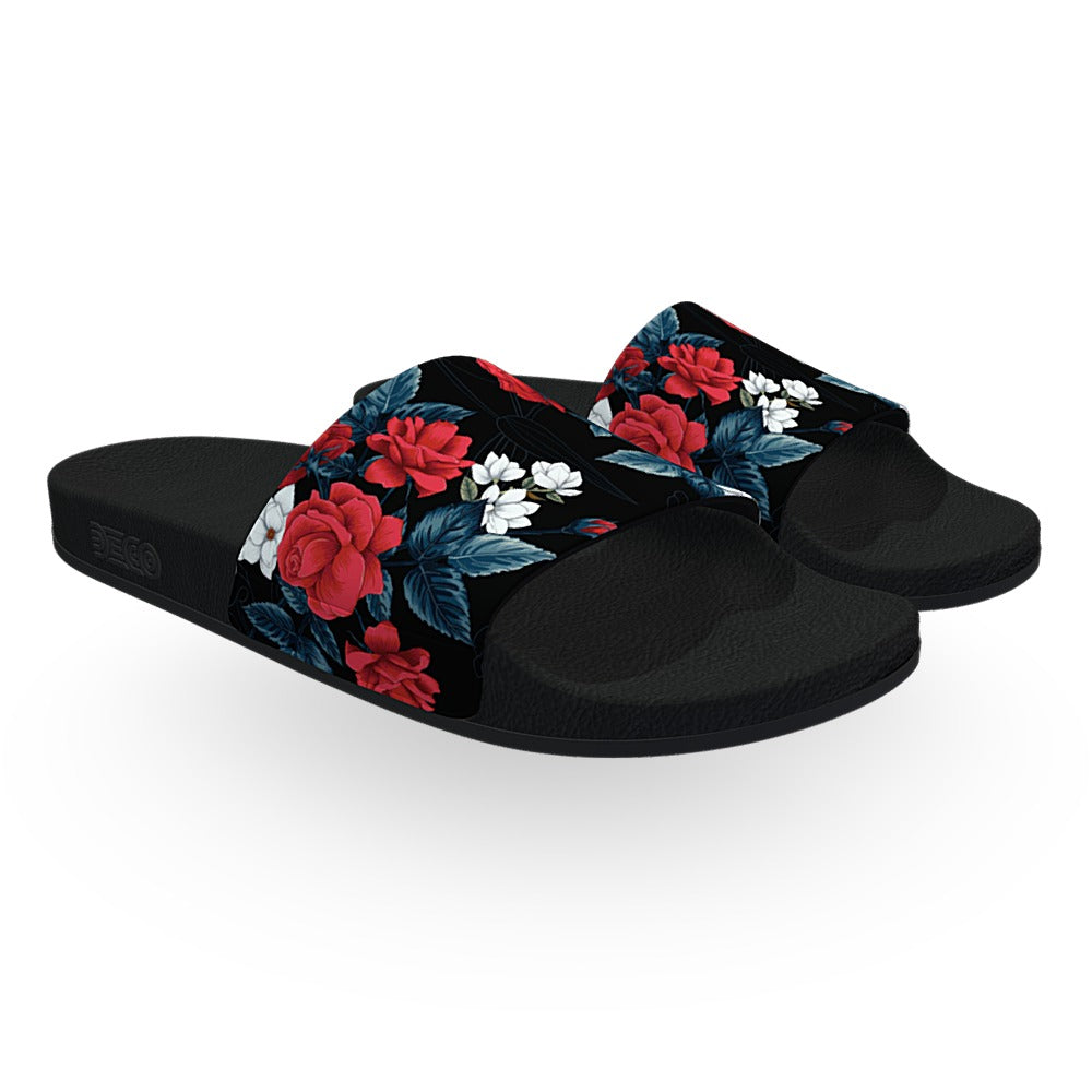 Black Red and White Flowers Slide Sandals