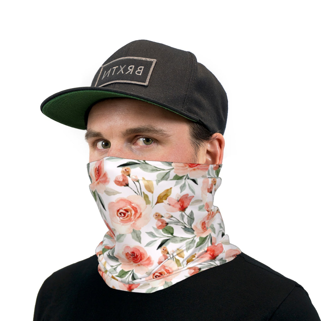 Watercolor Roses Neck Gaiter Face Mask