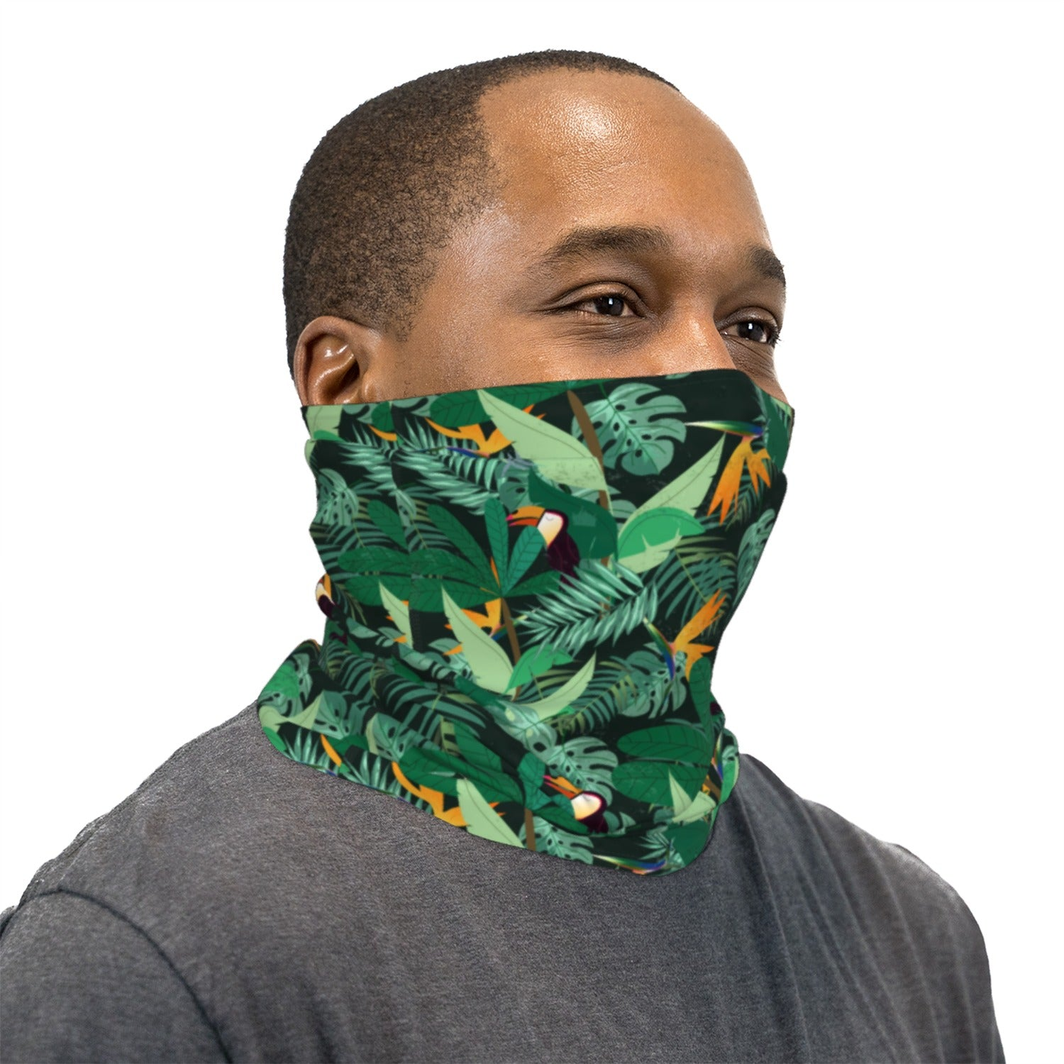 Green Tropical Tucans Neck Gaiter Face Mask