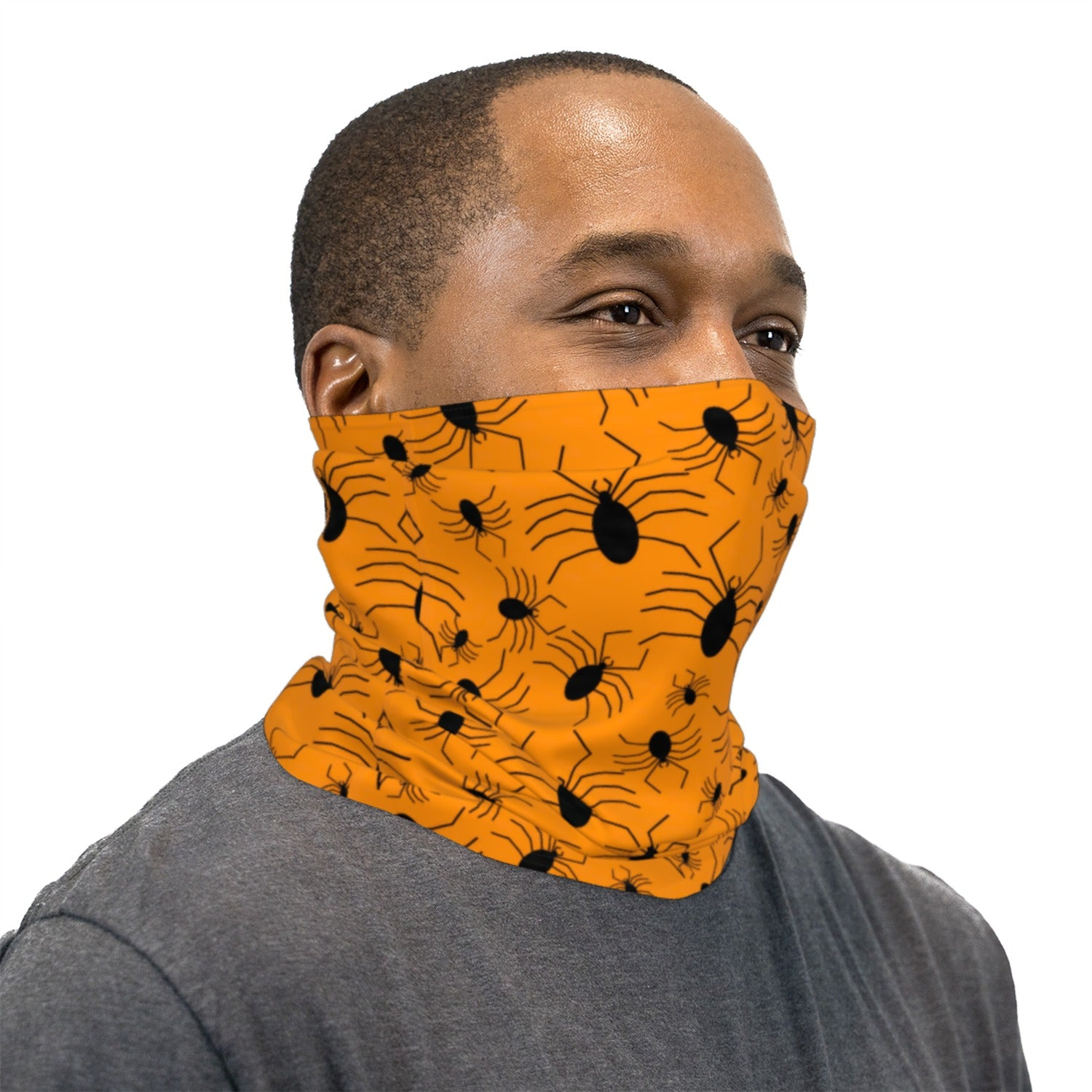 Orange and Black Spiders Neck Gaiter Face Mask