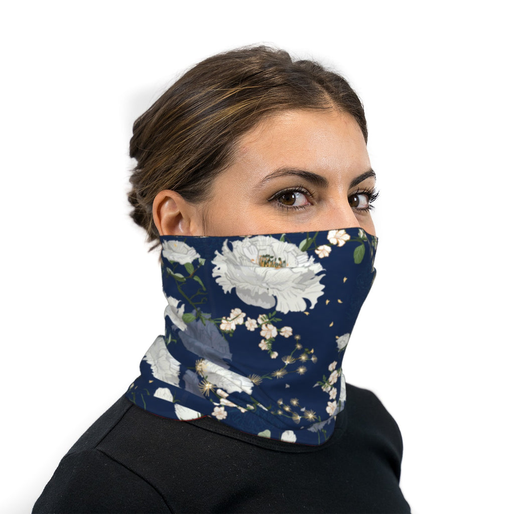 Blue and White Japanese Roses Neck Gaiter Face Mask