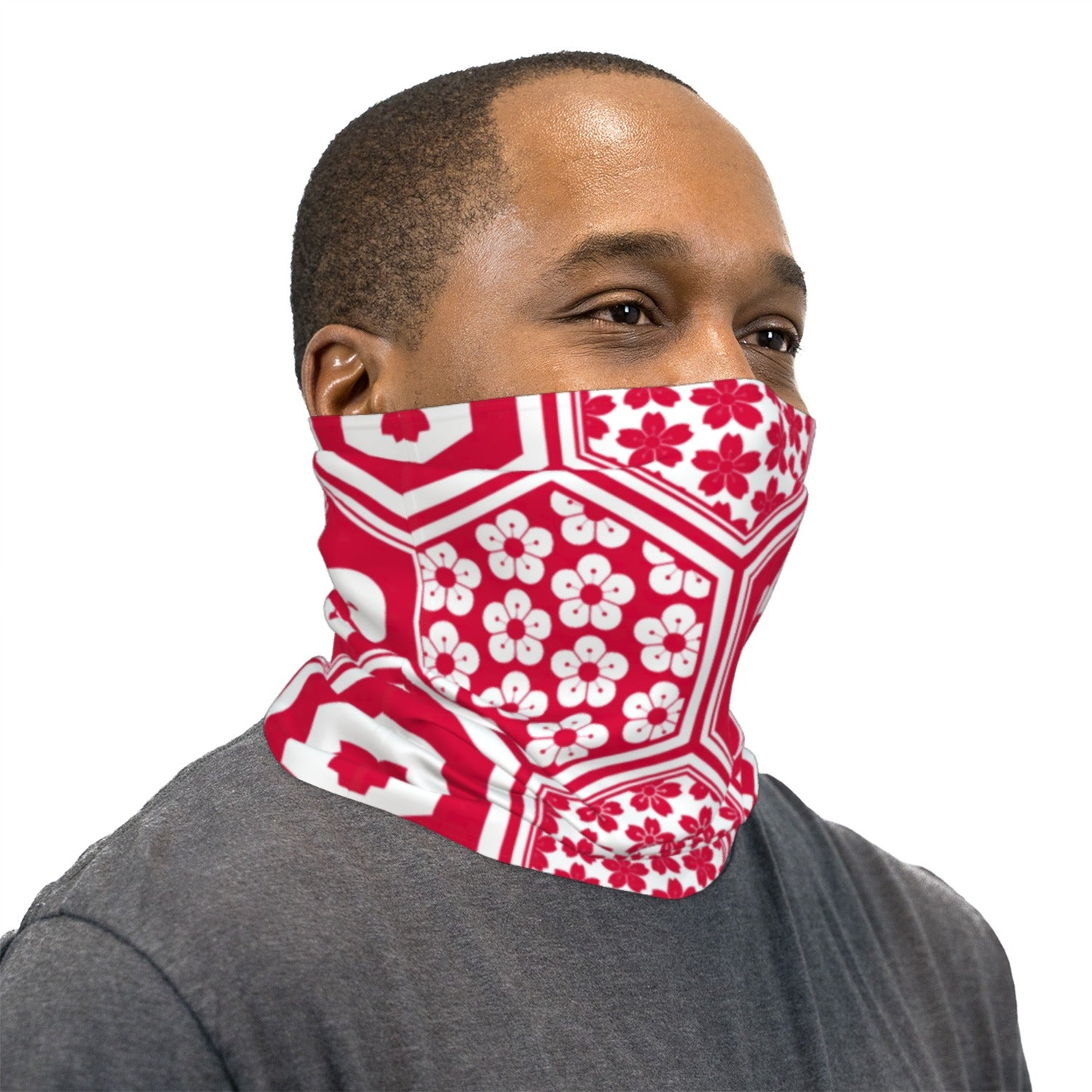 Red And White Geometric Flower Pattern Neck Gaiter Face Mask