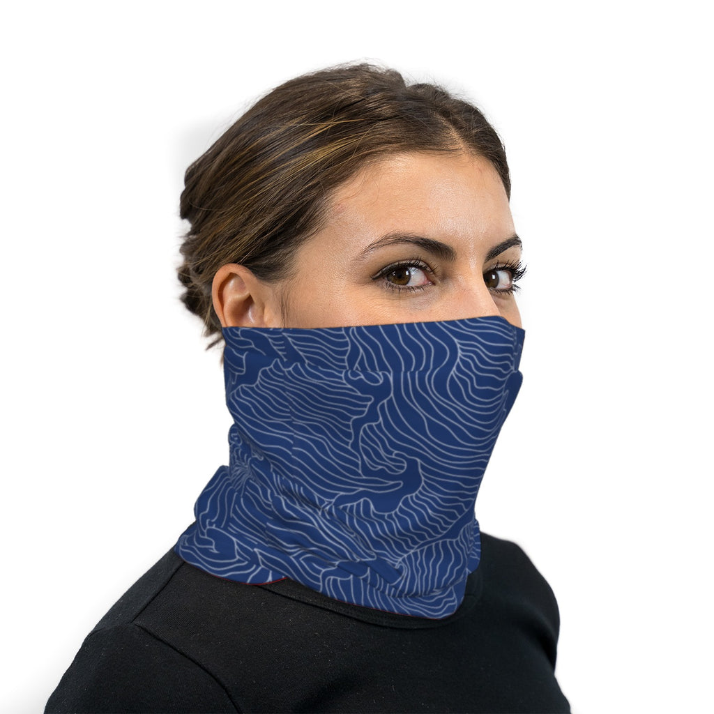 Blue Topographical Wave Neck Gaiter Face Mask