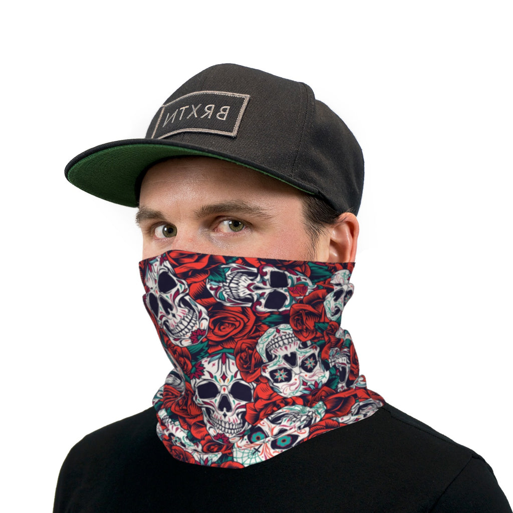 Skulls And Roses Neck Gaiter Face Mask