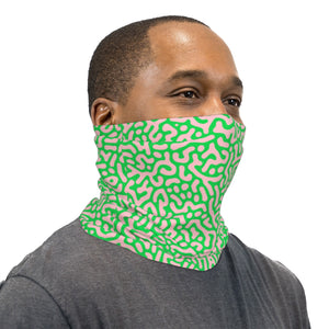 Salmon Pink and Green Squiggles Neck Gaiter Face Mask