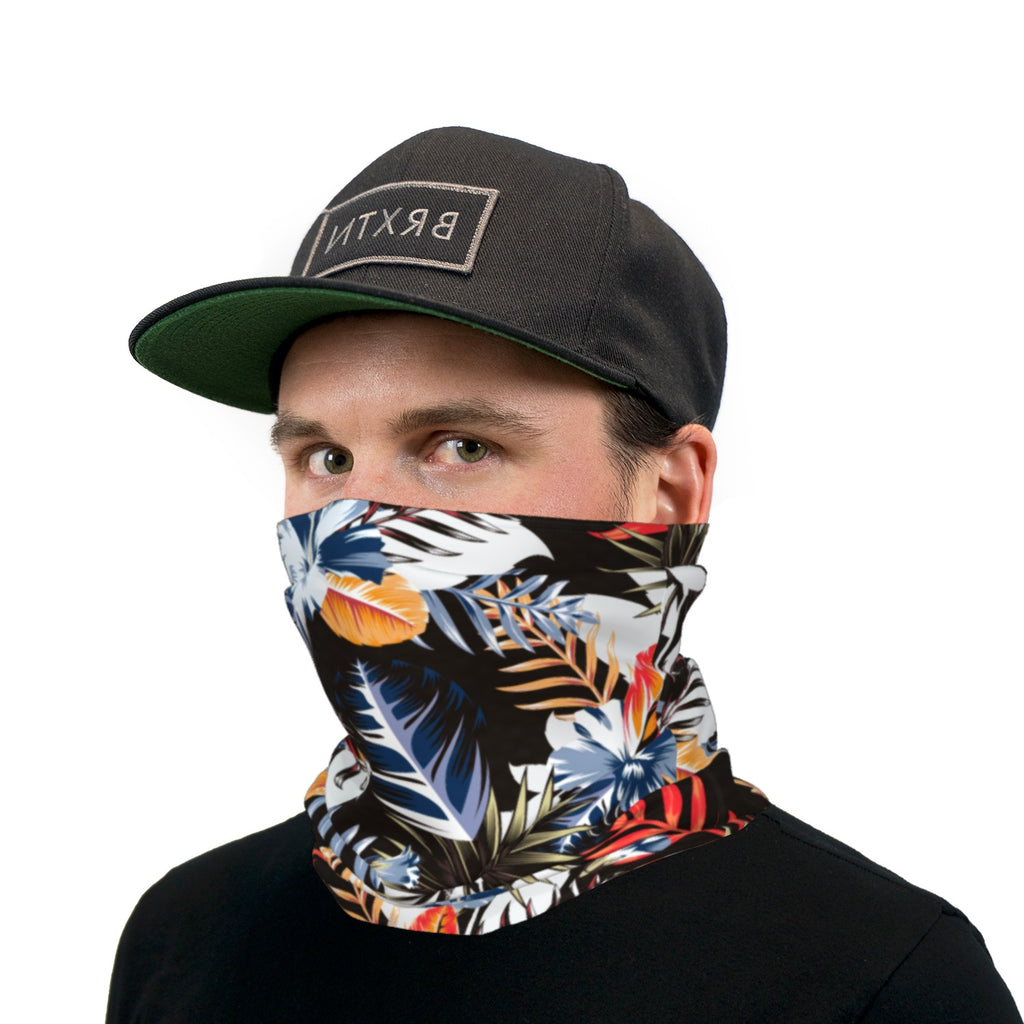 Black White Blue and Orange Hawaiian Neck Gaiter Face Mask