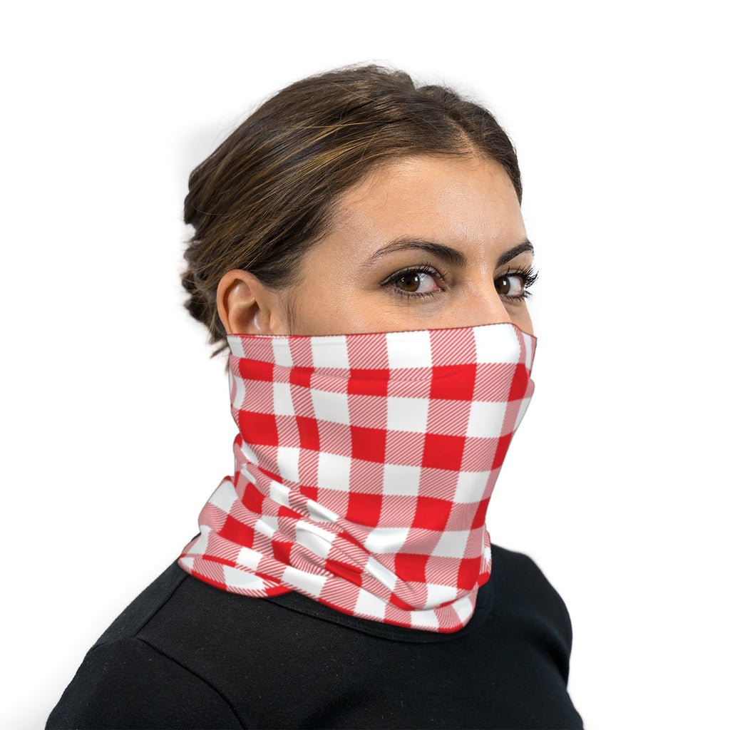 Red And White Checkered Neck Gaiter Face Mask