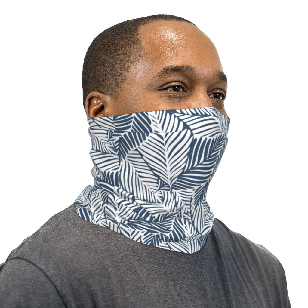 Steel Blue Tropical Leaves Neck Gaiter Face Mask