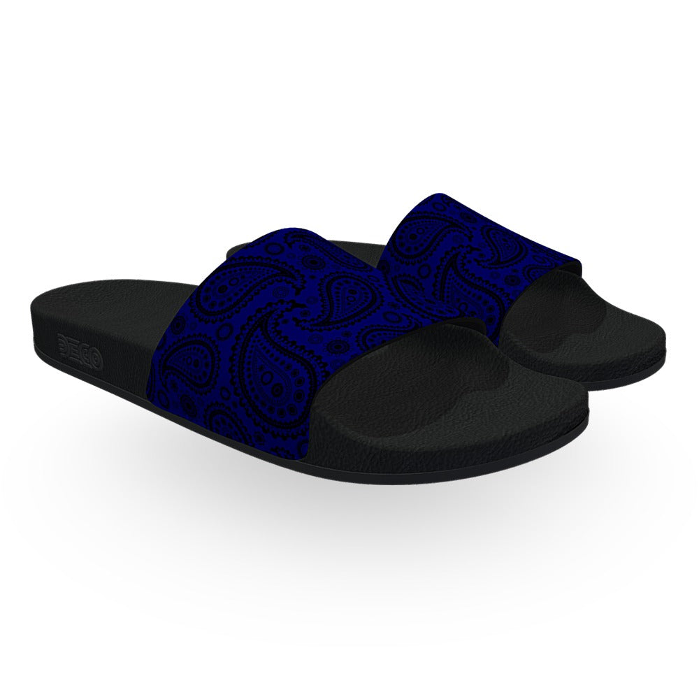 Blue and Black Bandana Slide Sandals