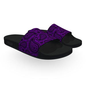 Purple and Black Bandana Slide Sandals