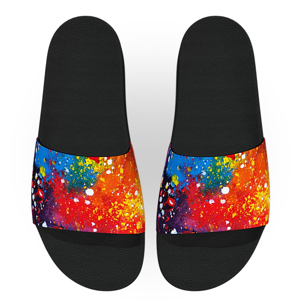 Colorful Paint Splatter Slide Sandals