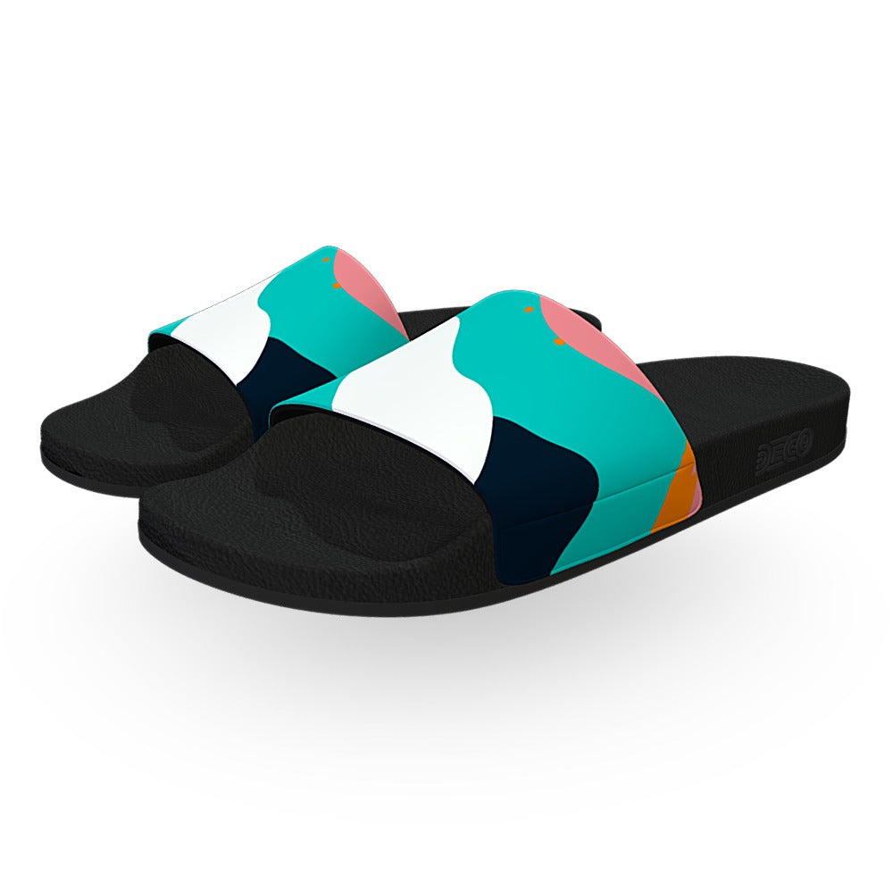Turquoise White and Pink Memphis Slide Sandals