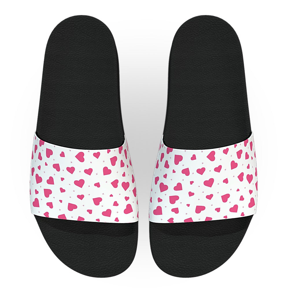 White and Pink Hearts Slide Sandals