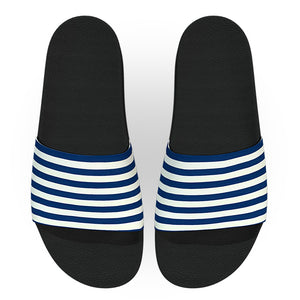 Blue and White Cabana Striped Slide Sandals