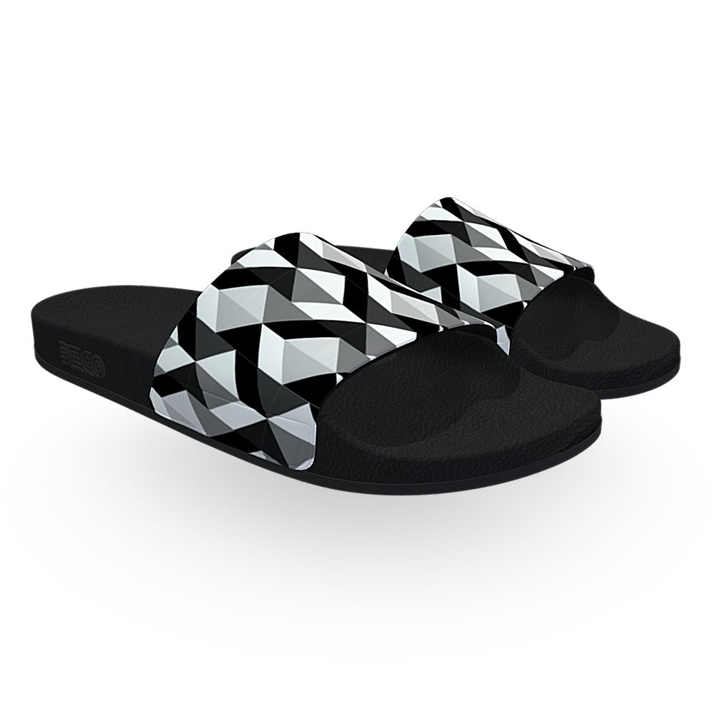 Black and White Escher Pattern Slide Sandals