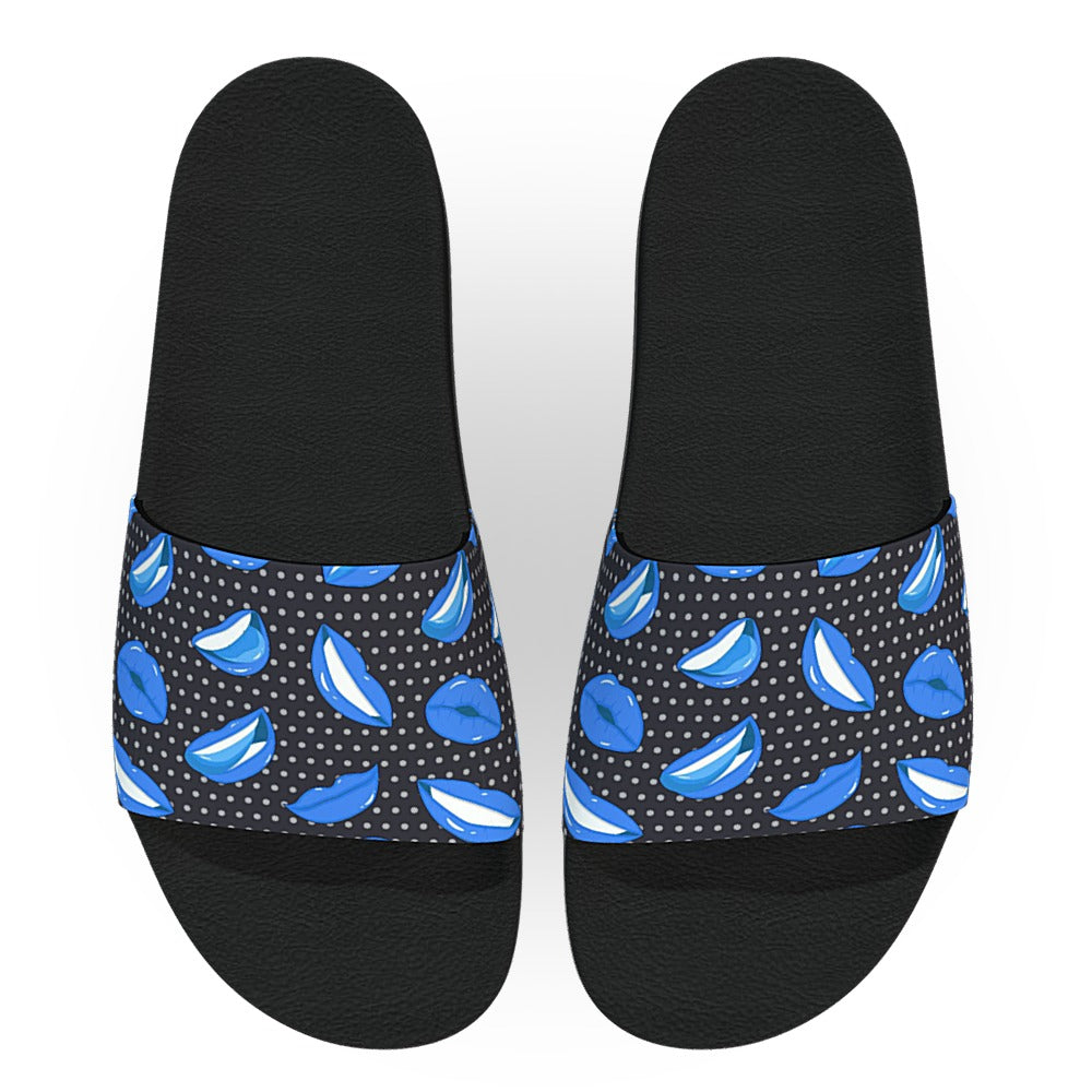 Black and Blue Lips Slide Sandals