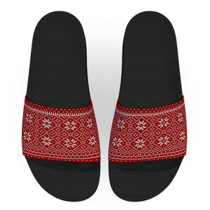 Norwegian Red and White Christmas Sweater Slides