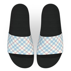 Light Blue and Pink Gingham Slide Sandals