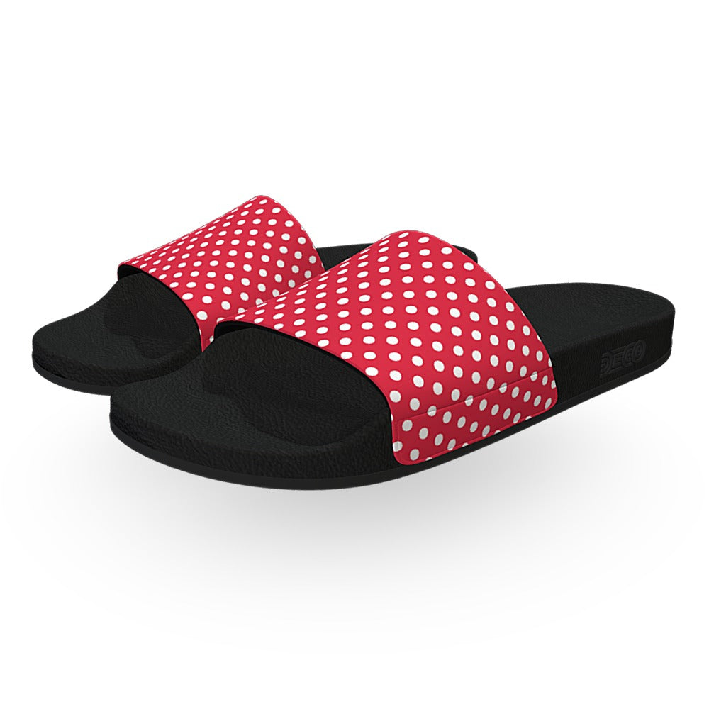 Red and White Polka Dots Slide Sandals