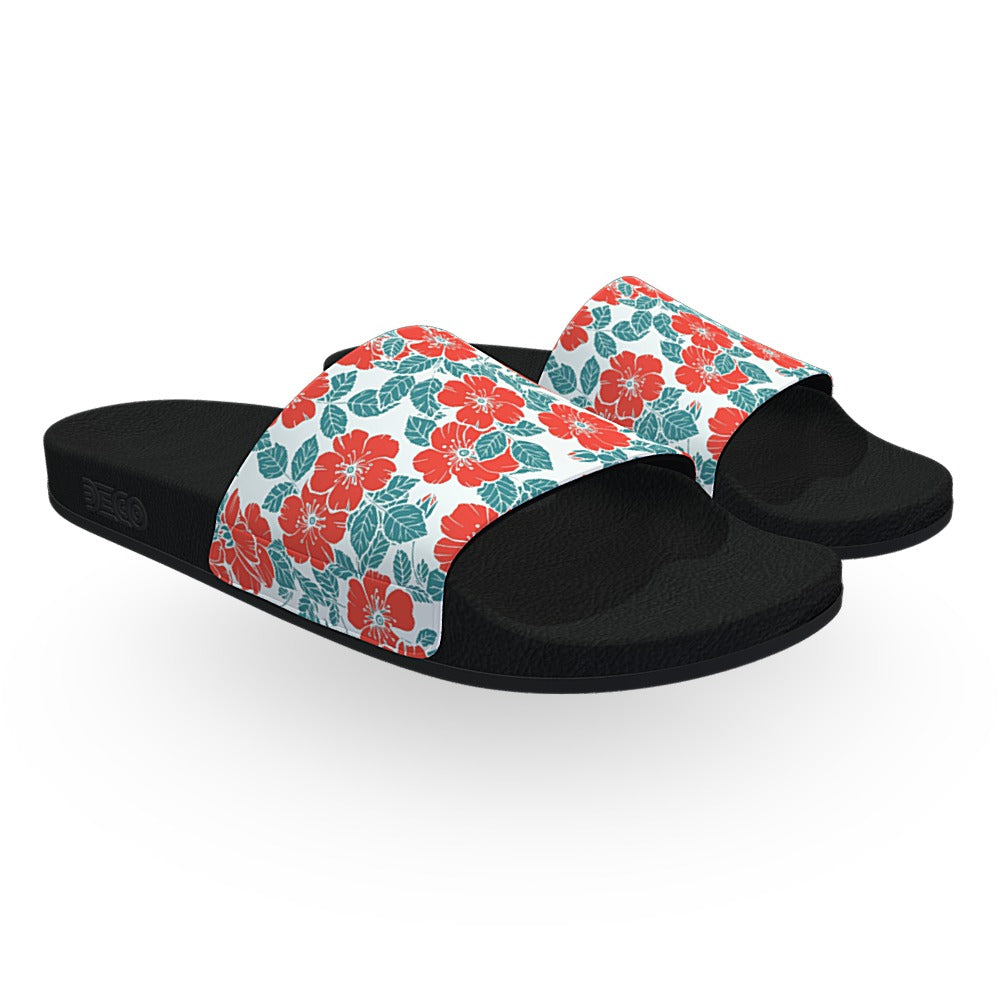 Red Green and White Flowers Print Slide Sandals
