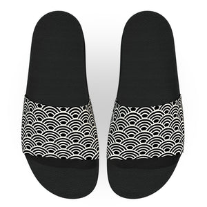 Black and Off White Wave Pattern Slide Sandals