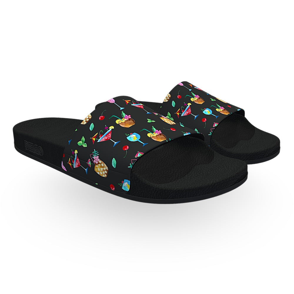 Black Beach Cocktail Slide Sandals