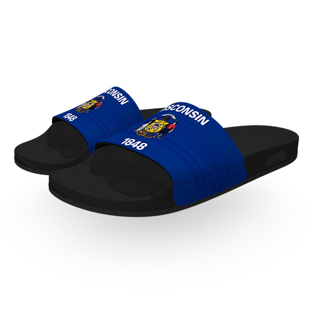 Wisconsin State Flag Slide Sandals