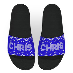 Customizable Blue Christmas Sweater Slides