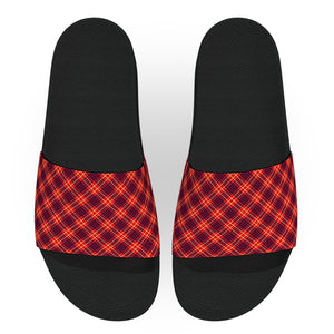 Red Blue and Yellow Tartan Flannel Slide Sandals