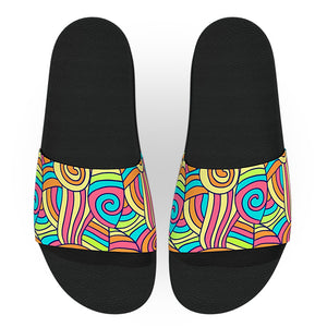 Yellow Pink and Blue Abstract Drawing Slide Sandals