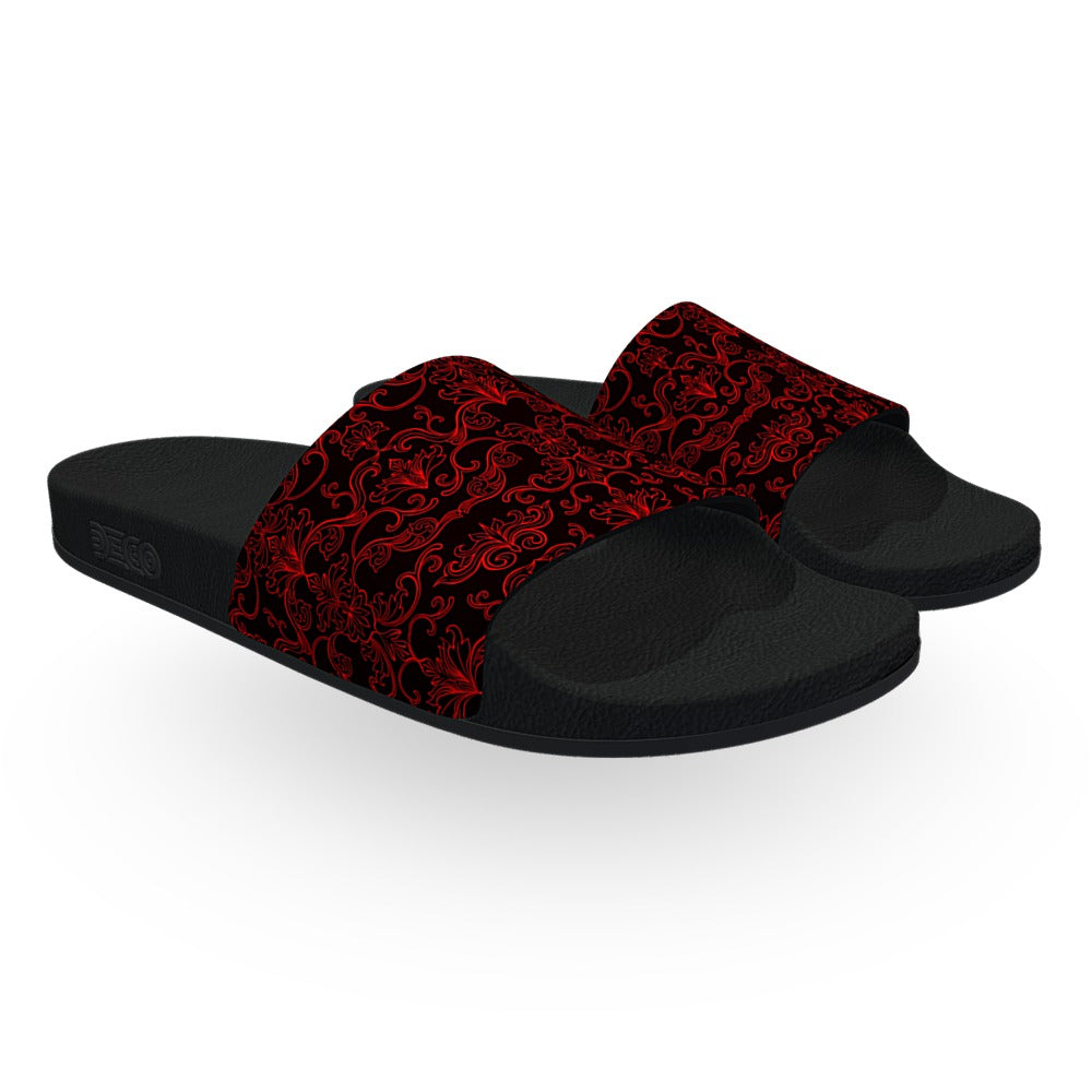 Black and Red Damask Pattern Slide Sandals