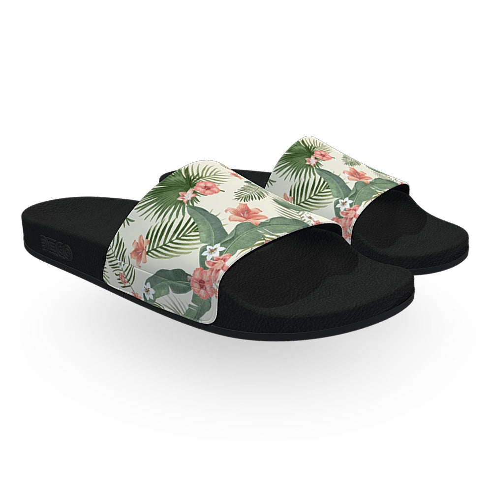 Off White Tropical Flora Slide Sandals