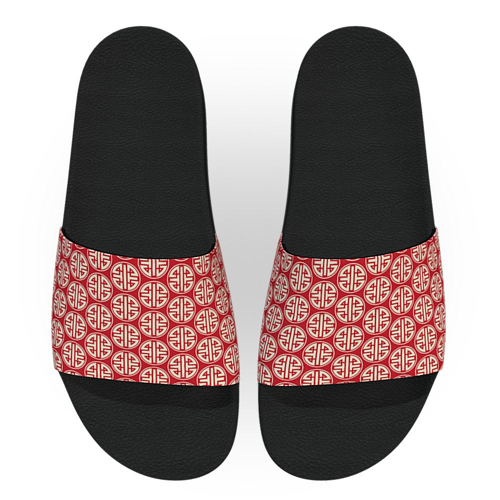 Red Chinese Pattern Slide Sandals