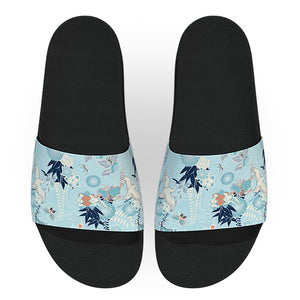 Blue Japanese Herons Print Slide Sandals