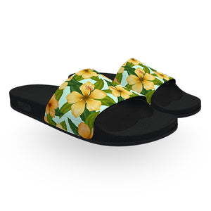 Yellow Green and Blue Tropical Slide Sandals