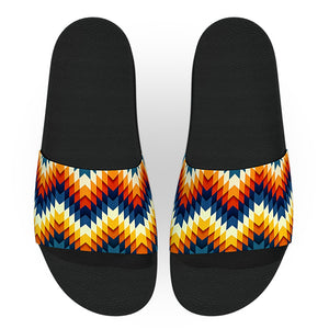 Blue and Orange Tribal Pattern Slide Sandals
