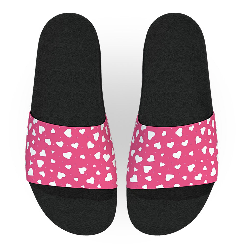 Pink and White Hearts Slide Sandals