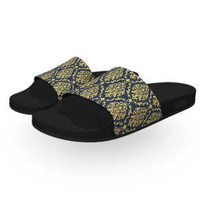 Blue and Gold Damask Pattern Slide Sandals