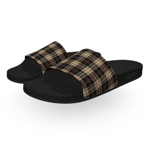 Monogrammed Burberry Plaid Slides