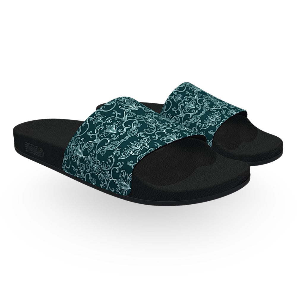Cyan Damask Pattern Slide Sandals