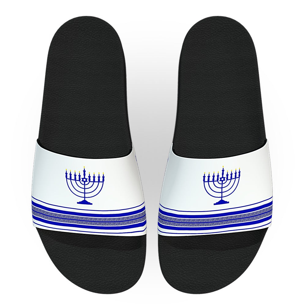 Customizable White and Blue Hanukkah Menorah Slides